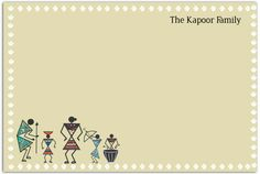 Warli Family - A perfect set of notecards for a family, featuring the traditional Indian art form of Warli.