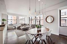 Design minimalista, forme pulite e toni neutri per un sofisticato quanto accogliente loft a Tribeca. Guarda gli interni di questo splendido loft!