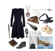 Slytherin as Pirate Captain by realslytherinpride on Polyvore featuring Alexander McQueen, Rebecca Minkoff, We Are All Smith, Disney, Rustico, Emma Watson, mark., harrypotter, slytherin and pirate
