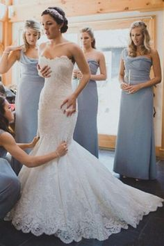 modest sweetheart mermaid wedding dresses, elegant lace wedding dresses, charming sweep train bridal gowns