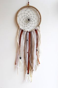 "Bohemian Dream Catcher, Earth Tones, 8"",Large, Wall Decor, Feathers, Beads, Lace, Boho, Unique, Gypsy Chic, Room Decor, Wall Hanging by MakingThingsHappen on Etsy https://www.etsy.com/listing/224800457/bohemian-dream-catcher-earth-tones"