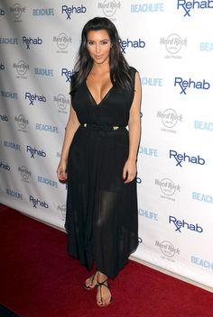 Kim Kardashian - Black Sheer Maxi Dress, Black & Gold Twist Belt & Black Sandals