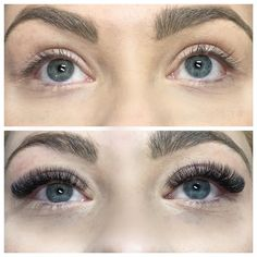 Before and after Glamorous Look Russian Volume Lashes #lashesextensions #biglashes