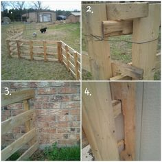 DIY dog fence for cheap. Great if you can't dig holes for posts. We took pallets, and cut notches so they could fit together. Then set them in a zigzag pattern with a piece of wire to tie them together. Set the end boards at an angle to a wall so they can't push out, but you can easily pull it open (picture 3). If need extra reinforcement, it is easy to cut out a brace to screw into a wall (picture 4).