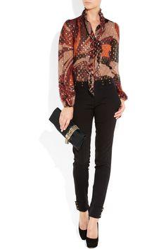 EMILIO PUCCI Filcoupe printed silk-blend chiffon blouse $1550