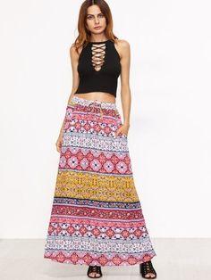 Pink Tribal Print Drawstring Waist Skirt