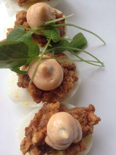 Devils on Horseback- fried oysters atop deviled eggs!