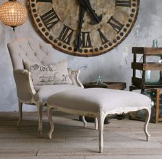 Duchess French Country Bergere Armchair and Ottoman in Gray Linen - transitional - Armchairs - Kathy Kuo Home