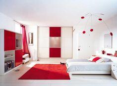 Couleur pour chambre moderne papier peint rouge d co murale originale meubles en bois massif Deco murale originale