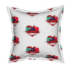 Serama Throw Pillow featuring Explosion of love (2) by chausse_shop | Roostery Home Decor