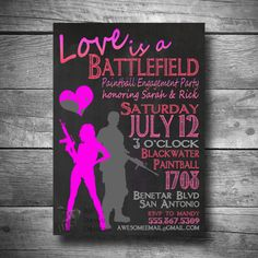 Paintball Engagement Party Invite, Love is a Battlefield Invitation, Printable, Email or Text Paintball Invite