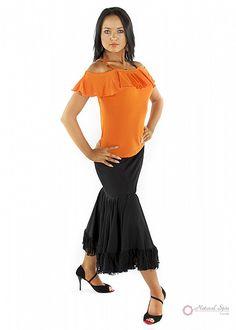 Natural Spin Signature Dance Tops(Short Sleeve):  LT35_ORANGE