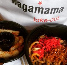 This is what happens when there's a wagas next to the gym! #tastytuesday #wagamamas #noodles #yakiudon #chillisquid #takeaway #takeout #nononsense