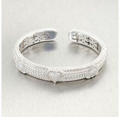 Judith Ripka Sterling Silver Cubic Zirconia Heart Cuff Bracelet