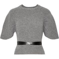REDValentino Belted wool sweater (28.455 RUB) ❤ liked on Polyvore featuring tops, sweaters, grey, ribbed top, woolen sweater, slit sleeve top, grey ribbed top and sleeve top