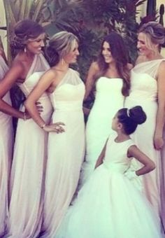 Dress: long bridesmaid es blush pink one shoulder @Linda Chiaro @Michele Grant What do we think of these just in a different color?