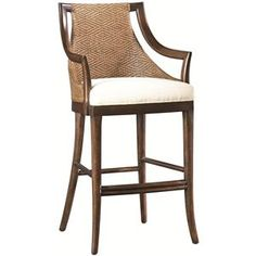 Paragon Bar Height Stool with Diamond Cane Weave Back & Fabric-Upholstered Seat by Artistica