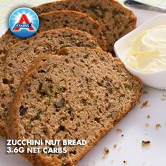 Who says you can't eat bread on Atkins? Try this Zucchini Nut Bread with only 3.6g net carbs!