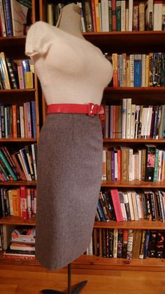 TIGHT SKIRT, Tight Sweater--Soft Heather Gray 1950s Pencil Skirt with Great Back Button Detailing--S. $55.00, via Etsy.