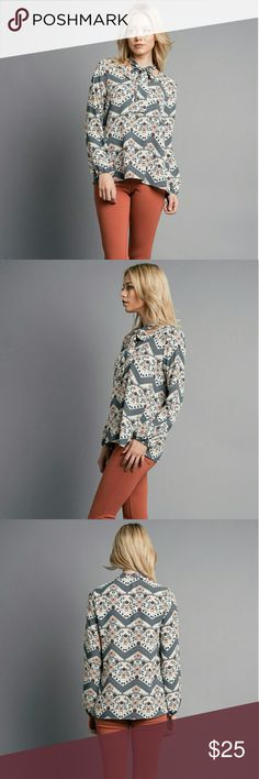 """Bailee Top Ivory Large - V-neck with tie - Long sleeve - Made in USA - 100% polyester - Length: 29"""" - Chest: 20"""" - Sleeve: 24"""" blupitch Tops Blouses"""