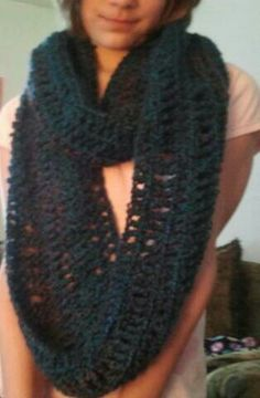 Infinty scarf. Used Lion Brand yarn called Homespun. So soft. Alternating rows of double and triple crochet