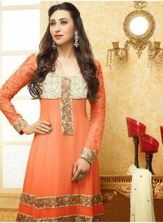 Karishma Kapoor Light Orange Anarkali Suit