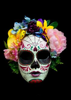 Catrina Skull is a hand painted paper mache mask in full size with beautiful fabric flowers crown. This mask is an art work, uniquely painted every time it is made! It is designed to carry, have strings thats are easy to use. It can be part of your masquerade costume, its perfect for a masquerade party. When you purchase an Noir Masks, you are buying a one of a kind piece of art. $130,00 #skull #mask #halloween #masquerade #diadelosmuertos #catrina #death