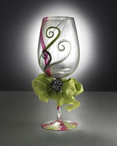 I love all of the elegant hand painted wine glasses