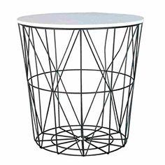 Beistelltisch metall draht weiß  Design-Beistelltisch-Metall-Korb-mit-Holz-Deckel-dekorativer ...