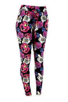 ShoSho Women's Plus Size Printed Tapered Leg Soft Pants-3XL/4XL-Floral