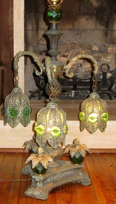 Mid Century Brass and Glass Torch Sconces Loevsky /& Loevsky White Metal Castings