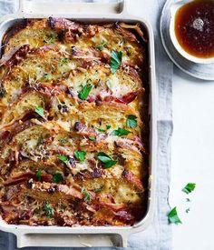 Bacon & egg sourdough pudding w/ gruyère, leek & thyme