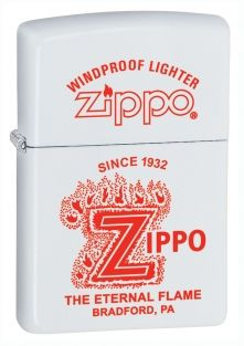 Eternal Zippo lighter now available from Zippo UK now only £17.50 White Matte. Packaged in an environmentally friendly gift box. Lifetime Guarantee.