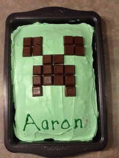 Minecraft Creeper cake. Im not into thecake decorating but I could handle this! So easy!