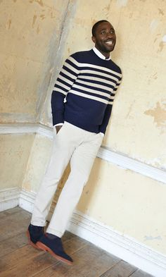 Navy and white stripe jumper