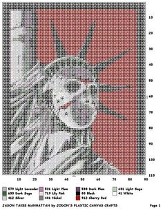 JASON TAKES MANHATTAN WALL HANGING by JODON'S PLASTIC CANVAS CRAFTS