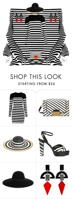 """""""Straight Line Geometry: Striped Fashion  & Fotos"""" by judymjohnson ❤ liked on Polyvore featuring Boohoo, Vince Camuto, Valentino, Maison Michel, Toolally and Marni"""