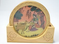 Handmade Wooden Set of 6 Coasters with Woman Playing Music for Deers Design 4 Inches The Modish Store,http://www.amazon.com/dp/B00CZ0OZMM/ref=cm_sw_r_pi_dp_wHbMsb02R5666VDJ