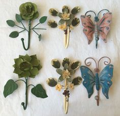 6 pc Vintage Tole Ware Italy Coat Wall Hooks Butterfly Flowers Florentine #HollywoodRegency