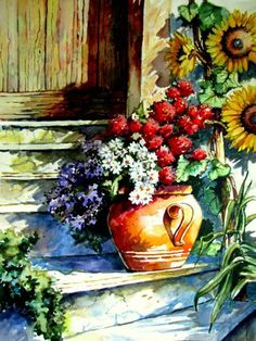 Stairs with flowers, painted by Berrin Duma SOLD