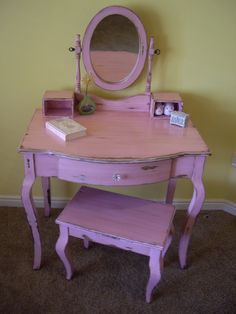I am getting ready to refinish a vanity just like this.  I think I'm going to do it this exact color, so fun!