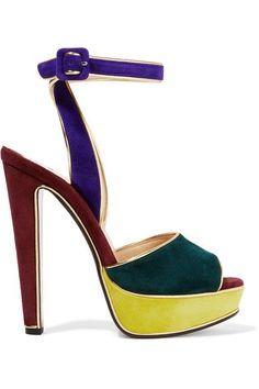 Christian Louboutin - Louloudance 140 Color-block Suede Sandals - Royal blue