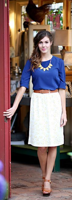 white Print Skirt, blue blouse @roressclothes closet ideas #women fashion outfit #clothing style apparel