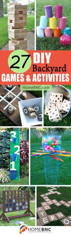 27 Creative DIY Backyard Games For Inexpensive Outdoor Fun - Decor 2019 Backyard For Kids, Backyard Games, Backyard Projects, Diy Projects, Backyard Designs, Backyard Ideas, Lawn Games, Picnic Activities, Kid Activities