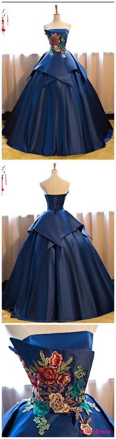 Navy Blue Floor Length Prom Dress Satin Wedding Gown Featuring Floral Embroidered Strapless Prom Dresses Evening Gowns PD20188238