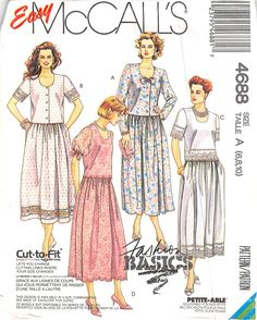 MCCALLS 4688 - FROM 1990 - UNCUT - MISSES TWO-PIECE DRESS