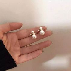 Double Pearl Earrings, Gold Bar Earrings, Tiny Stud Earrings, Simple Earrings, Pearl Studs, Bridal Earrings, Vintage Earrings, Women's Earrings, Gold Pearl