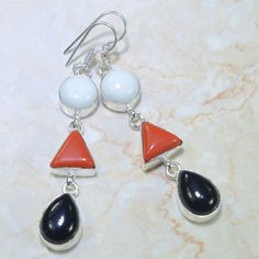 Metaphysical Gifts, Cards, Wrap and Crystals | Life Is A Gift Shop - White Jade (Nephrite), Red Coral and Black Onyx Geometric Design Earrings - balances your masculine and feminine., $14.00 (http://lifeisagiftshop.com/white-jade-nephrite-red-coral-and-black-onyx-geometric-design-earrings-balances-your-masculine-and-feminine/)