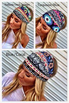 Colorful Aztec Boho Headband Cotton Wide Turban by ThreeBirdNest, $18.00