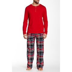 Majestic Knit Top & Fleece Pant Sleep Set ($40) ❤ liked on Polyvore featuring men's fashion, men's clothing and men's sleepwear